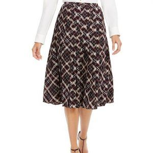 Calvin Klein Plaid Pleated Midi Skirt. Size 4 NWOT